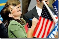 Sarah Palin Laughing As She Signs Autographs at So Cal Rally