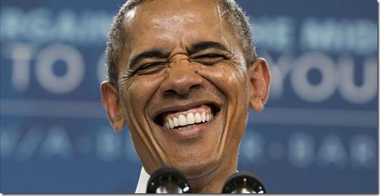 Grinning Obama