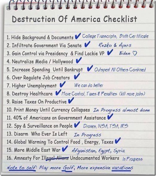Destruction of America Checklist