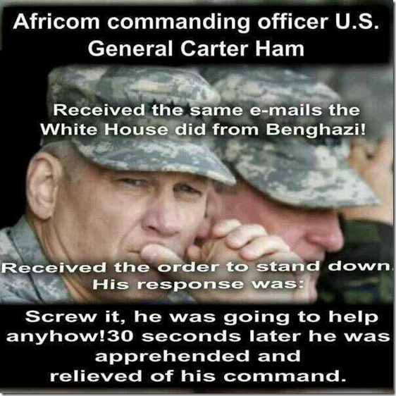 Africom General Ham - Relieved of Duty... Benghazi Hero