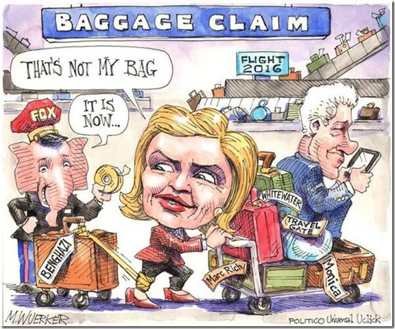 Hillary Trying to Unload Baggage